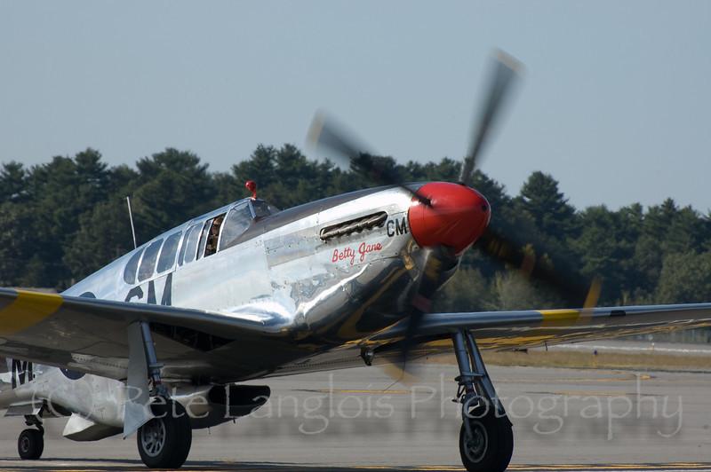 "P-51C ""Betty Jane"" returns safely to Manchester-Boston Regional Airport"