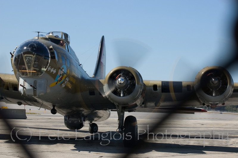 "B-17G Flying Fortress ""Nine O Nine"" arriving at Manchester-Boston Regional Airport"