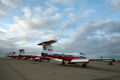 MIRAMAR, CA - Canadian Air Force flight demonstration team, the Snowbirds CT-114 Tutors (Canadair CL-41) parked on the flightline before the show.