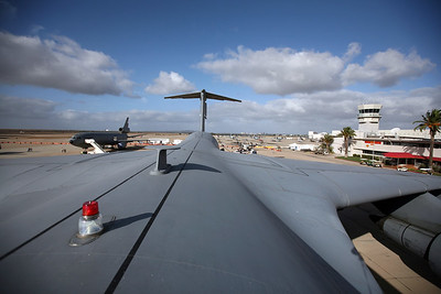 MIRAMAR, CA - Poking out of the top hatch of the C-5 Galexey.