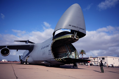 MIRAMAR, CA - The C-5 Galexy opens up the cargo bay so folks can walk through it..