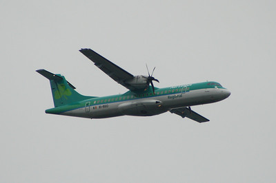 An Aer Lingus Regional (Aer Arann) ATR ATR-72-500 (EI-REO) on approach to Glasgow Airport about to lower it's landing gear. It was withdrawn in October 2013 when it went off lease and is now in use with Myanma Airways of Burma (Myanmar)