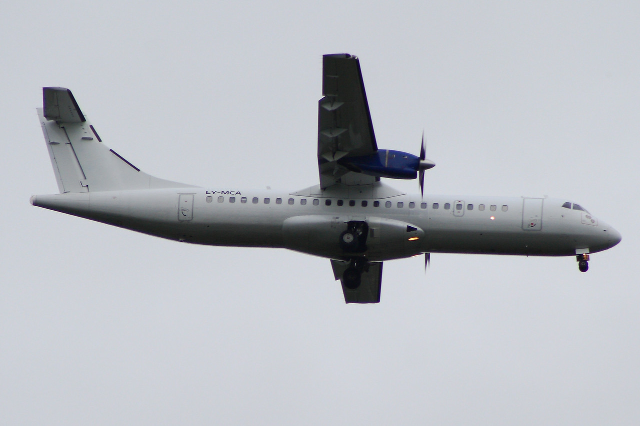 ATR-72-201 (LY-MCA) on an Aer Lingus Regional service on behalf of Stobart Air on approach to Glasgow Airport. It is on short term lease from DOT LT of Lithuania.