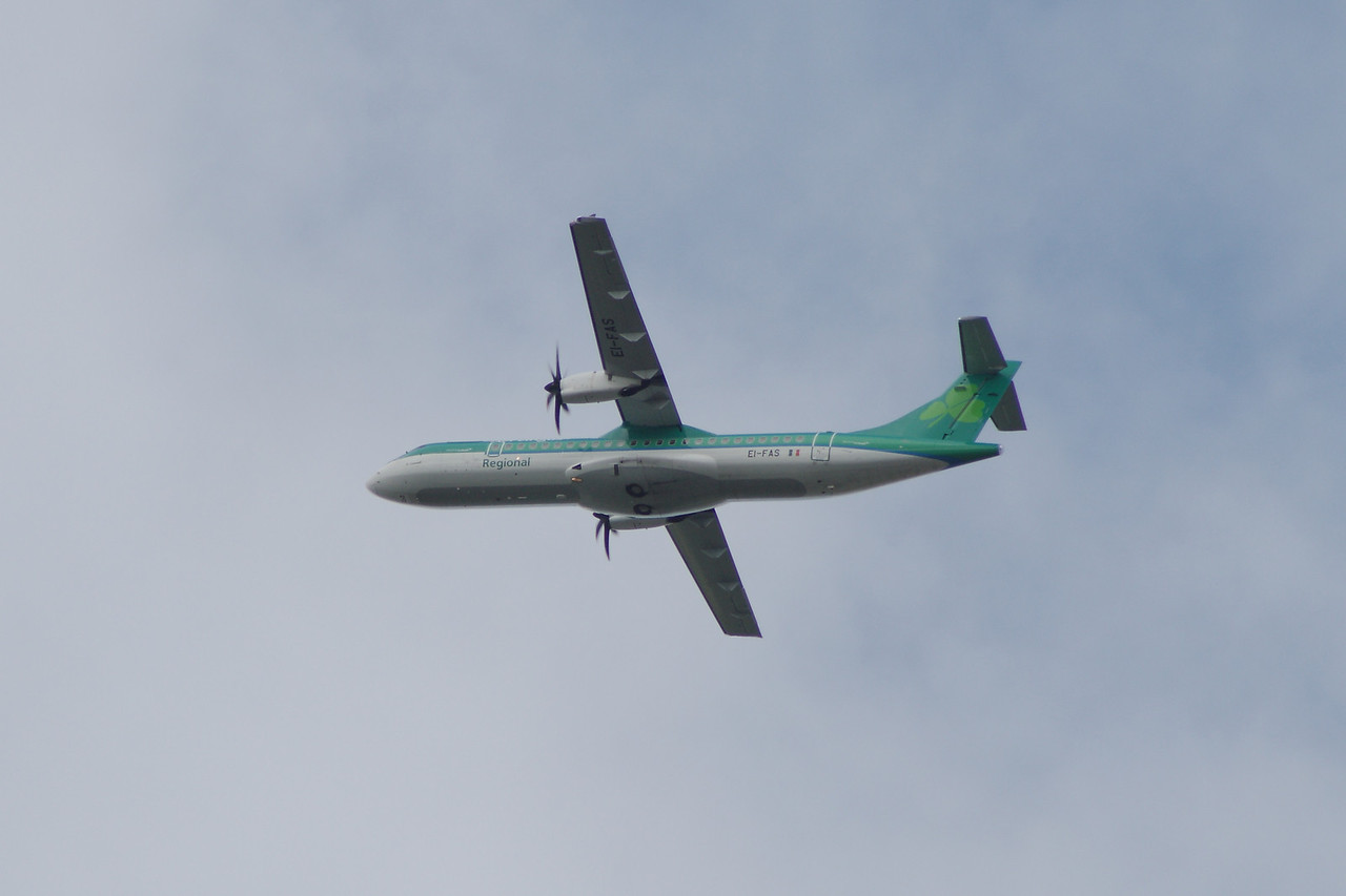 An Aer Lingus Regional (Aer Arann) ATR ATR-72-600 (EI-FAS) after take off from Glasgow Airport. It was delivered new to Aer Arann in May 2013