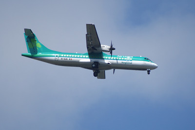 An Aer Lingus Regional (Aer Arann) ATR ATR-72-212 (EI-SLN) on approach to Glasgow Airport. It is due to go off lease and return to Air Contractors and returned to them in Octobr 2013.