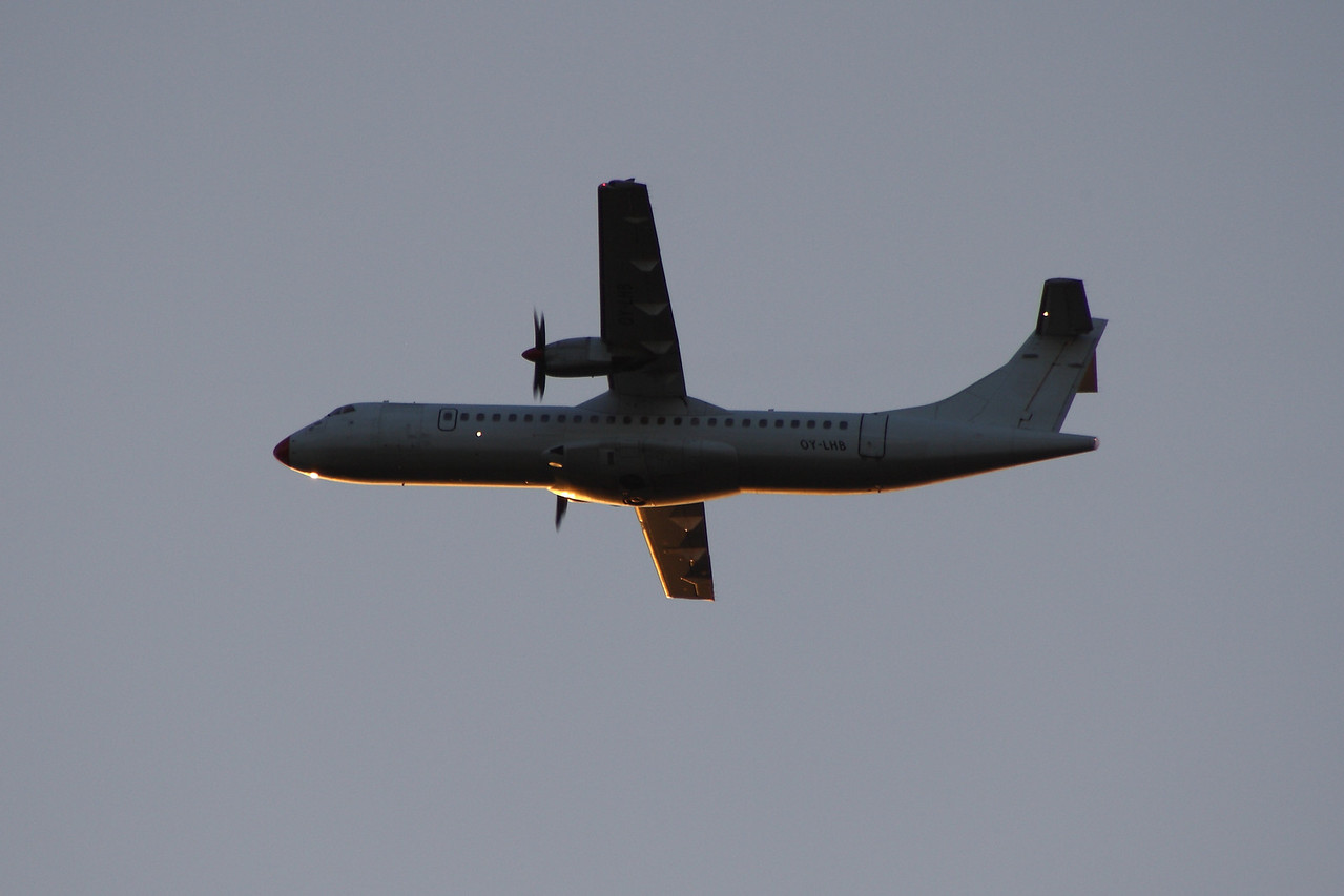 A Danish Air Transport ATR ATR-72-202 (OY-LHB) departing Glasgow Airport. It was operated by Aer Lingus Regional (Aer Arann) on a short term basis pending arrival of new aircraft.
