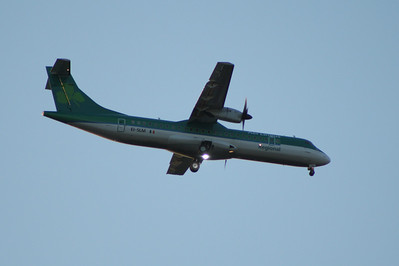 An Aer Lingus Regional (Aer Arann) ATR ATR-72-212 (EI-SLM) on approach to Glasgow Airport. In July 2011 the nose gear collapsed after a landing at Machester Airport and the aircraft was damaged beyond economic repaid and written off.