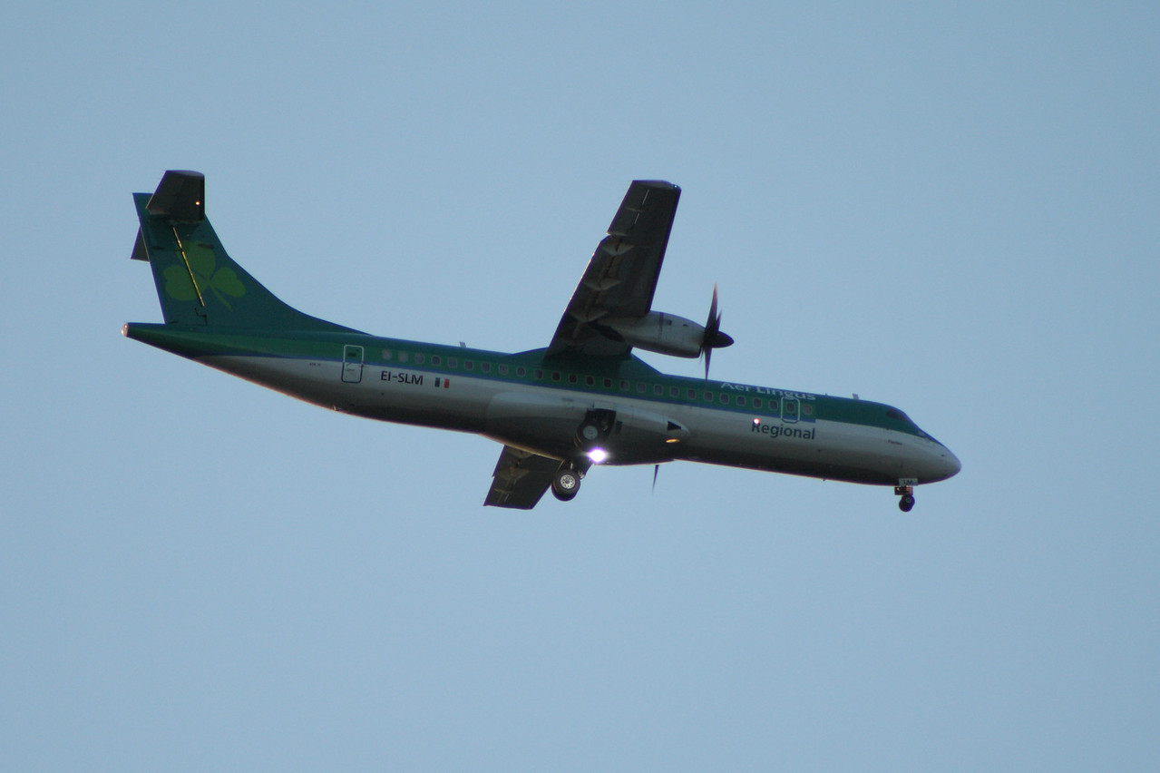 EI-SLM An Aer Lingus Regional (Aer Arann) ATR ATR-72-212 on approach to Glasgow Airport. In July 2011 the nose gear collapsed after a landing at Machester Airport and the aircraft was damaged beyond economic repaid and written off.