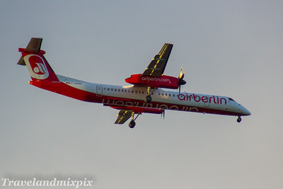 D-ABQB Eurowings de Havilland Canada DHC-8-402Q Dash 8 Glasgow Airport 12/11/2017 operated by LGW - Luftfahrtgesellschaft Walter, wearing Air Berlin livery