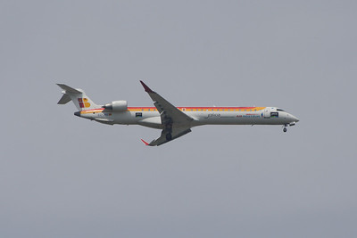 EC-JNB An Air Nostrum (Iberia Regional) Canadair CL-600-2D24 Regional Jet CRJ-900 on approach to Glasgow Airport Wears Galicia livery