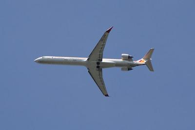 EC-LPG An Air Nostrum (Iberia Regional) Canadair CL-600-2E25 Regional Jet CRJ-1000 departing Glasgow Airport