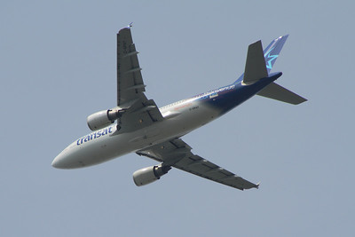 C-GPAT Air Transat Airbus A310-308 after departure from Glasgow Airport