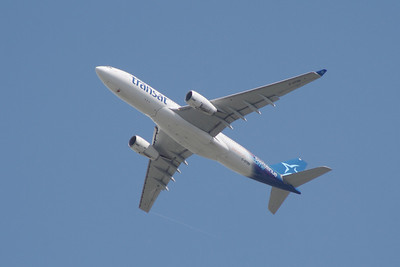 An Air Transat Airbus A330-243 (C-GTSN) after take off from Glasgow Airport