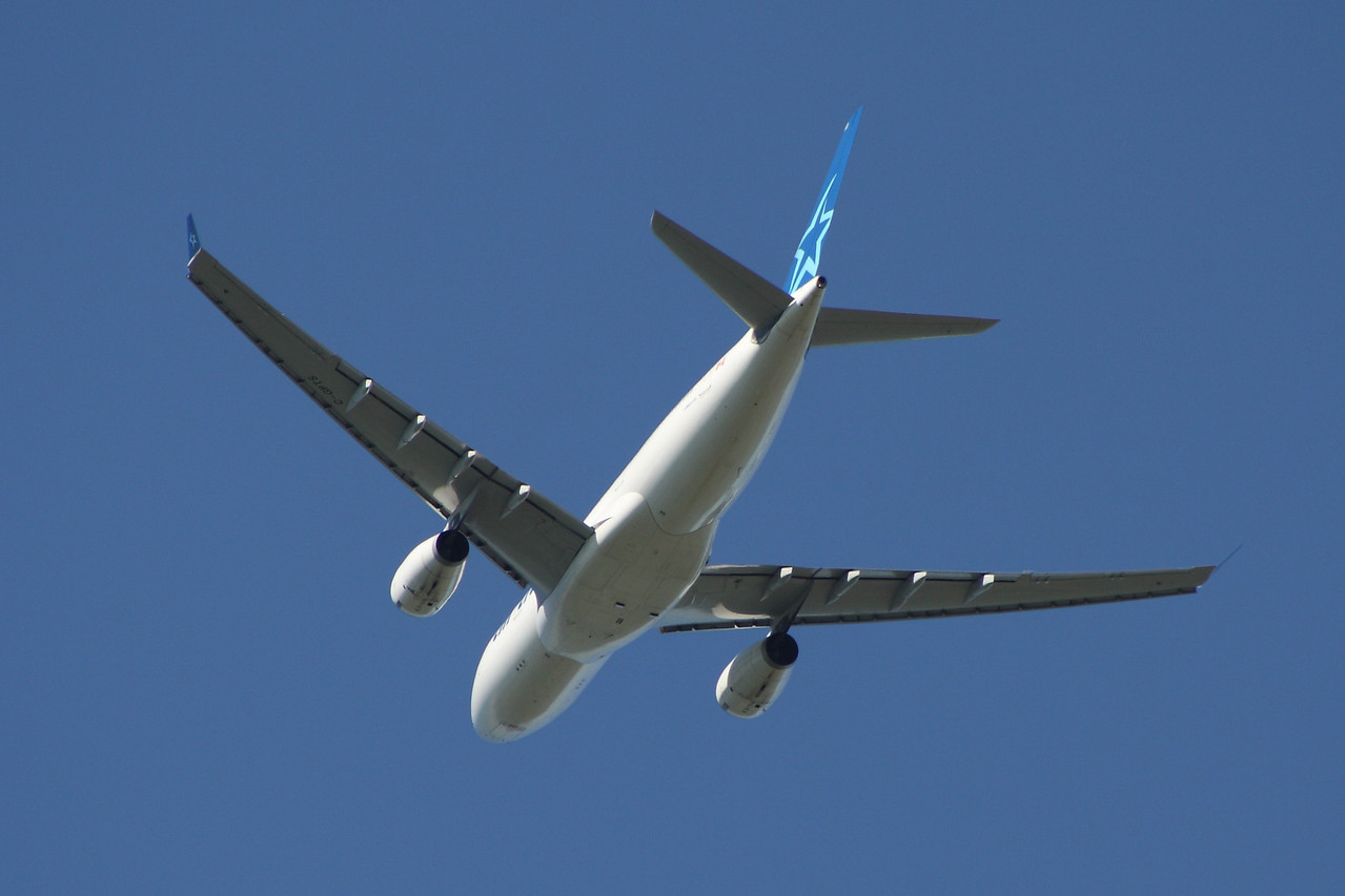 C-GPTS An Air Transat Airbus A330-243 after take off from Glasgow Airport