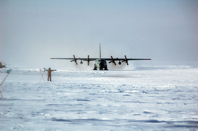 SOUTH POLE STATION, ANTARCTICA: The LC-130 taxis into position.