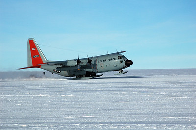 SOUTH POLE STATION, ANTARCTICA: The LC-130 Hercules gains speed and gets its nose off the ground.