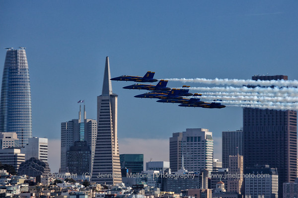 Blue Angels Buzz Past Transamerica and Salesforce Buildings in San Francisco
