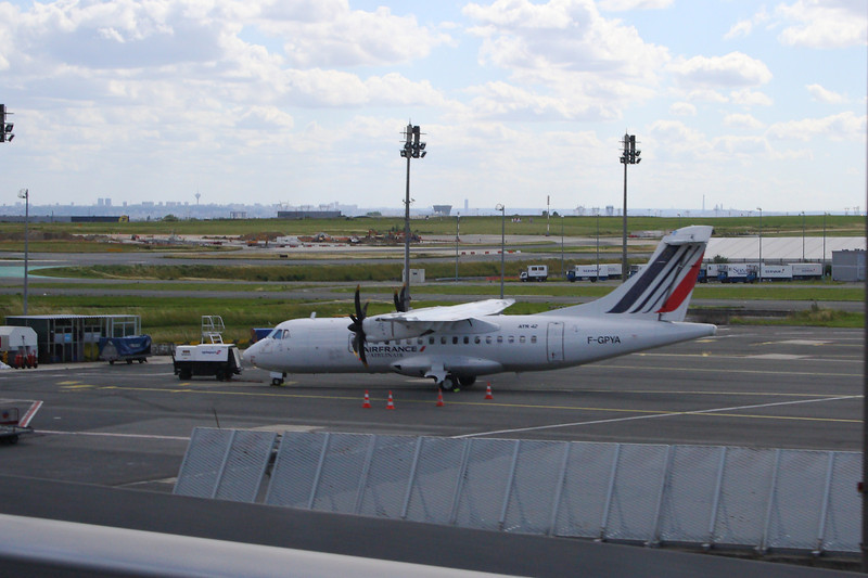 F-GPYA<br /> An Airlinair ATR ATR-42-500 at Paris Charles de Gaulle Airport, wearing Air France colours