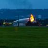 Glasgow Airport Fire Tender 2, a Rosenbauer CA5 Panther of Glasgow Airport Fire Service on 17/08/2016 during training at the Glasgow Airport fire dump.