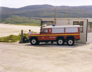 Fire Tender No.1 at Barra Airport,  a Land Rover Defender 127/Carmichael 6x6