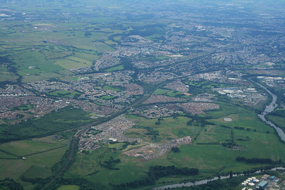 Daldowie Sewage Treatment Works bottom right of picture, River Clyde, Flemington, Cambuslang and Carmyle