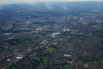 Passing over Stepps. River Clyde running through Glasgow on top right, M8 and M74 on top left across the picture. Parkhead in centre of picture.