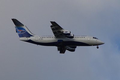 A British Aerospace Avro 146 RJ100 (OY-RCC) of Atlantic Airways of the Faroe Islands on approach to Glasgow Airport with a service on behalf of BA CityFlyer.