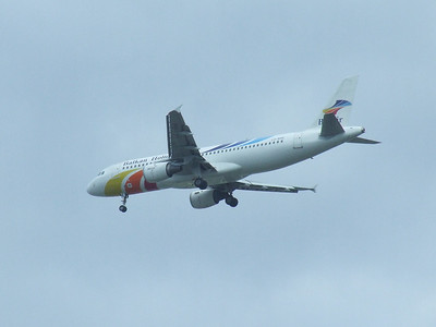 LZ-BHE A Balkan Holidays Air Airbus A320-211 on approach to Glasgow Airport