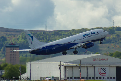 YR-BAE Blue Air Boeing 737-46N Glasgow Airport 22/05/2016