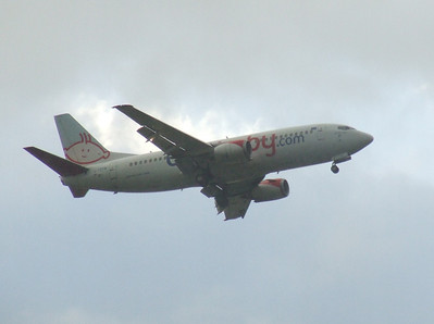 A bmibaby Boeing 737-36Q (G-TOYM) on approach to Glasgow Airport. The aircraft was stored in September 2012 and is now in use with Jet2