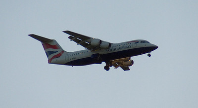 A BA CityFlyer BAe Systems Avro 146-RJ100 (G-BZAU) on approach to Glasgow Airport. It was withdrawn in February 2010 and since August 2010 has been in use with Cobham Aviation in Australia