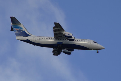 OY-RCC A British Aerospace Avro 146 RJ100 of Atlantic Airways of the Faroe Islands on approach to Glasgow Airport with a service on behalf of BA CityFlyer.