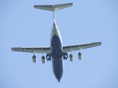 A BA CityFlyer BAe Systems Avro 146-RJ100 (G-BXAS) on approach to Glasgow Airport. It was returned to the lessor in December 2009 and stored. It is now in use with Cobham Air of Australia since August 2012