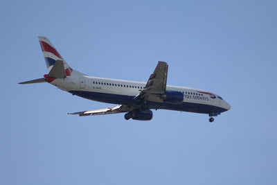 G-DOCE A Boeing 737-436 of British Airways approaching Glasgow Airport. It was withdrawn in January 2014.