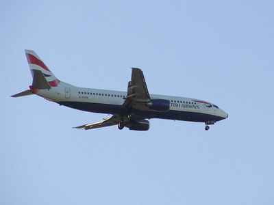 G-DOCW A Boeing 737-436 of British Airways on approach to Glasgow Airport. It was withdrawn in September 2015.