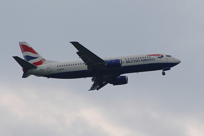 G-GBTA A Boeing 737-436 of British Airways on approach to Glasgow Airport. It was withdrawn in November 2014.