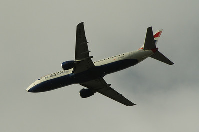 G-DOCZ A Boeing 737-436 of British Airways after take off from Glasgow Airport. It was withdrawn in December 2014.