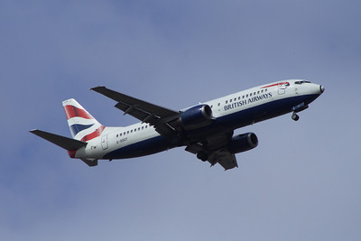 G-DOCT A Boeing 737-436 of British Airways on approach to Glasgow Airport. It was withdrawn in December 2014.