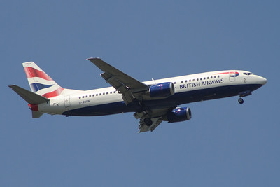 G-DOCN A Boeing 737-436 of British Airways on approach to Glasgow Airport. It was withdrawn in November 2014.