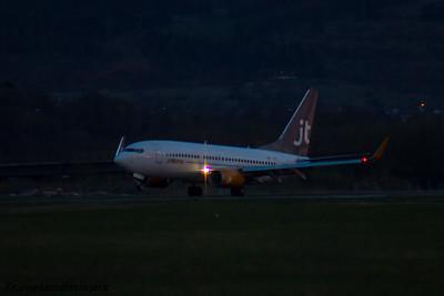 OY-JTY Jettime Boeing 737-7Q8 Glasgow Airport 22/04/2016 Operating on behalf of British Airways