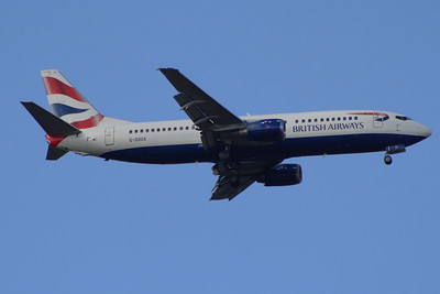 G-DOCA A Boeing 737-436 of British Airways on approach to Glasgow Airport. It was withdrawn in November 2014.