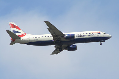 G-DOCY A British Airways Boeing 737-436 of British Airways on approach to Glasgow Airport. It was withdrawn in December 2014.