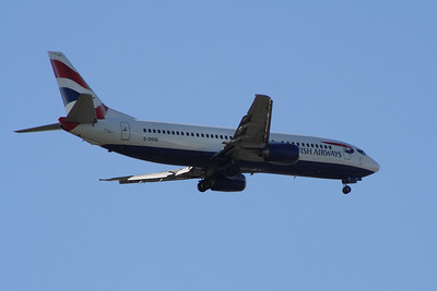 G-DOCE A Boeing 737-436 of British Airways on approach to Glasgow Airport. It was withdrawn in January 2014.