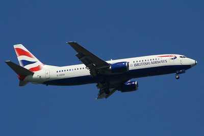 G-DOCB British Airways Boeing 737-436 Glasgow Airport 23/07/2014 The aircraft was stored in October 2014 and donated to Cranfield University, arriving there on 23/10/2014