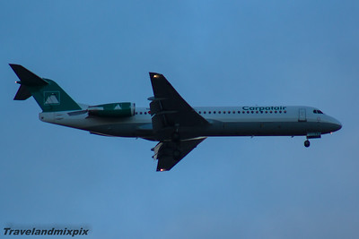 YR-FKA Carpatair Fokker 100 (F-28-0100) Glasgow Airport 24/07/2014 Arriving at Glasgow Airport on a rugby charter