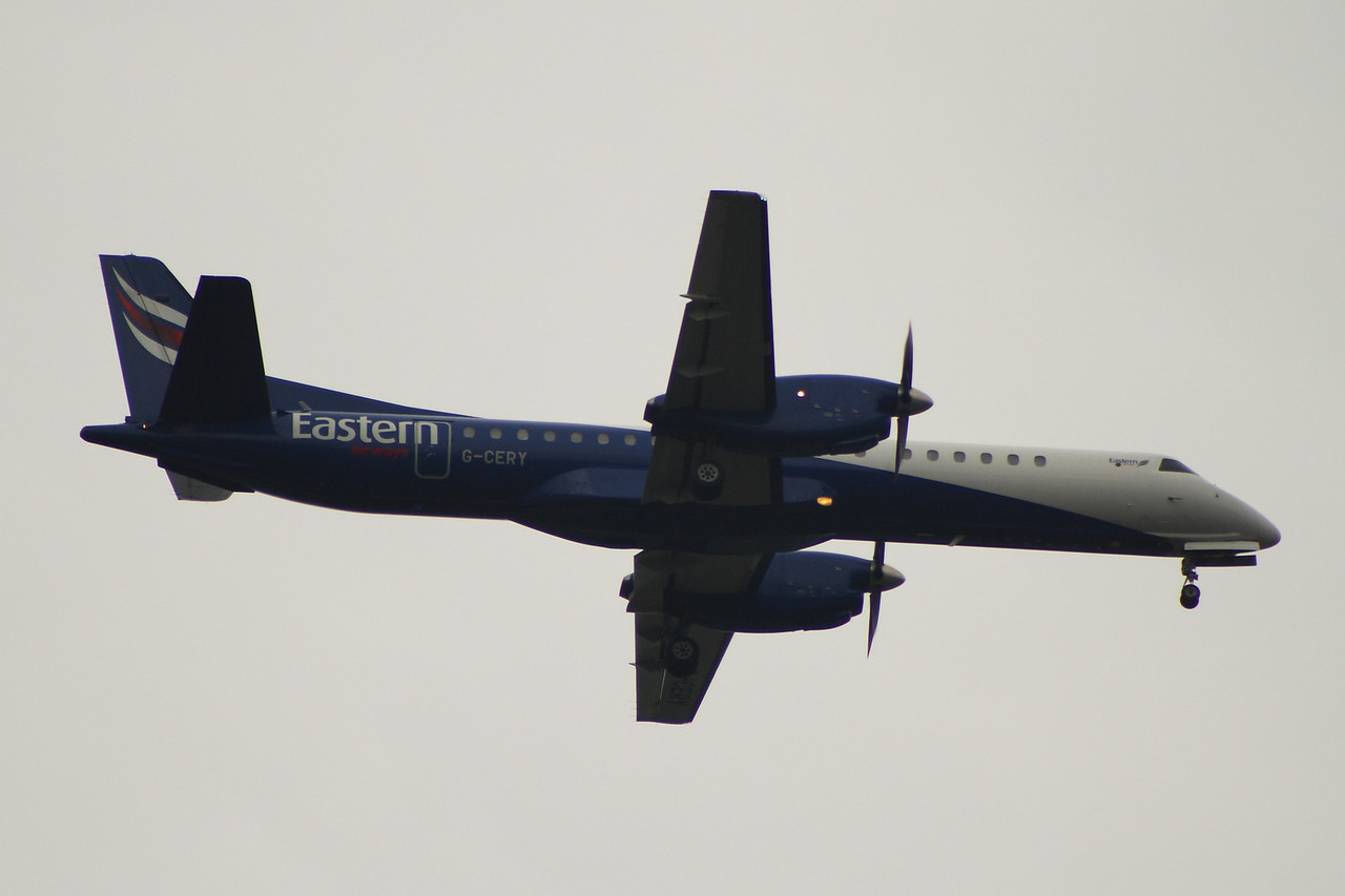 G-CERY An Eastern Airways Saab 2000 on approach to Glasgow Airport