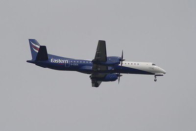 G-CDEA An Eastern Airways Saab 2000 on approach to Glasgow Airport