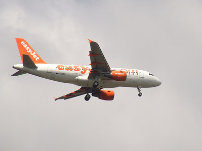 An Airbus A319-111 (G-EZEU) on approach to Glasgow Airport. It was withdrawn in September 2011.