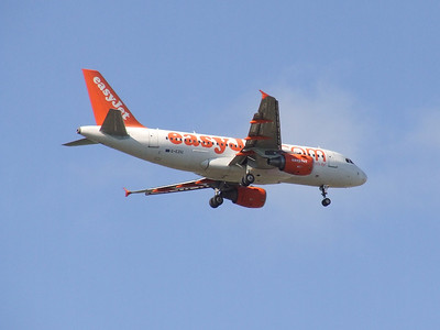 An Airbus A319-111 (G-EZIU) on approach to Glasgow Airport. It was withdrawn in September 2012.