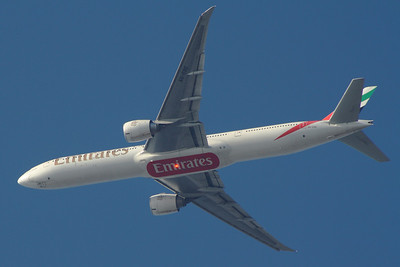A6-EBE An Emirates Boeing 777-36N/ER after departure from Glasgow Airport